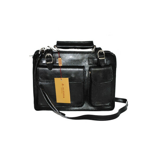 Alessia ITALIA LEDER SMALL ZIPPERBAG, NAN-4506 in de kleur black